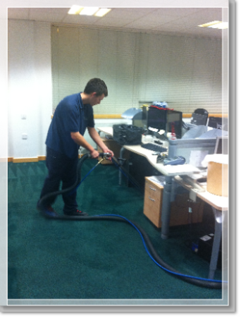 Restons Solicitors in Warrington having carpets cleaned by Prokleen carpet & upholstery cleaning specialists